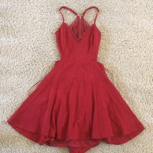 Red lace back Lulus dress